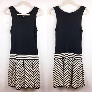 DKNY Silk Drop Waist Black and White Stripe Dress